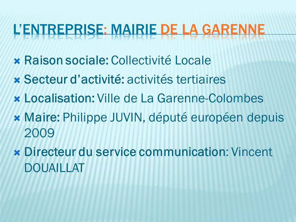 Raison sociale: Collectivité Locale Secteur dactivité: activités tertiaires Localisation: Ville de La Garenne-Colombes Maire: Philippe JUVIN, député e