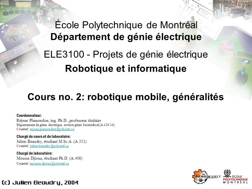 ELE3100, Projets de génie électrique: robotique mobile, généralités Exemples dapplication 32 Véhicules routiers autonomes Centres de recherche sur lautomobile de demain: Au Canada: Auto21 lAutomobile du XXI e siècle (http://www.auto21.ca/)http://www.auto21.ca/ En Californie: PATH (http://www.path.berkeley.edu/)http://www.path.berkeley.edu/ Au Japon: AHSRA (http://www.ahsra.or.jp)http://www.ahsra.or.jp IEEE ITS Council (http://www.ewh.ieee.org/tc/its/)http://www.ewh.ieee.org/tc/its/