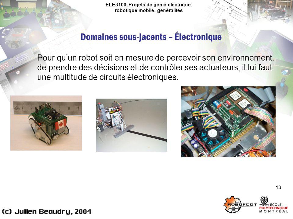ELE3100, Projets de génie électrique: robotique mobile, généralités Domaines sous-jacents – Électronique 13 Pour quun robot soit en mesure de percevoir son environnement, de prendre des décisions et de contrôler ses actuateurs, il lui faut une multitude de circuits électroniques.