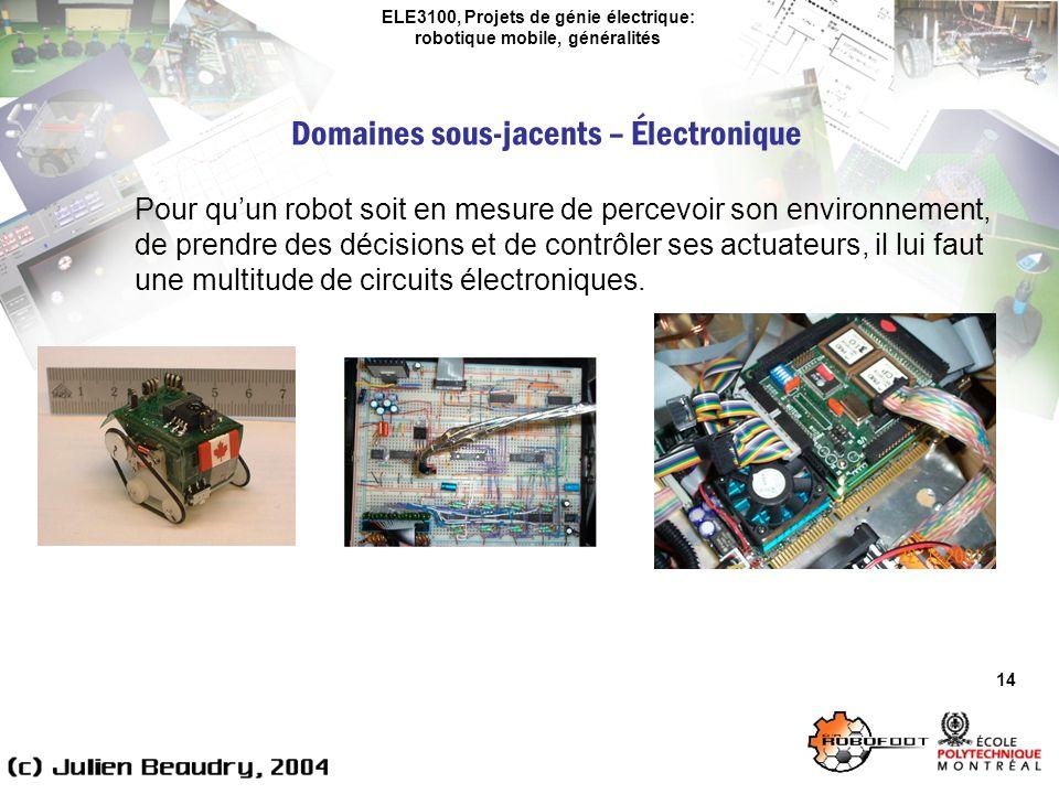 ELE3100, Projets de génie électrique: robotique mobile, généralités Domaines sous-jacents – Électronique 14 Pour quun robot soit en mesure de percevoir son environnement, de prendre des décisions et de contrôler ses actuateurs, il lui faut une multitude de circuits électroniques.