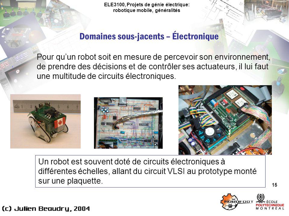 ELE3100, Projets de génie électrique: robotique mobile, généralités Domaines sous-jacents – Électronique 15 Pour quun robot soit en mesure de percevoir son environnement, de prendre des décisions et de contrôler ses actuateurs, il lui faut une multitude de circuits électroniques.