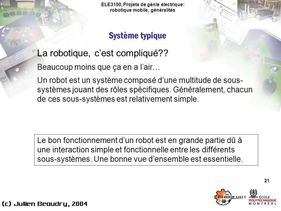 ELE3100, Projets de génie électrique: robotique mobile, généralités Système typique 21 La robotique, cest compliqué?.