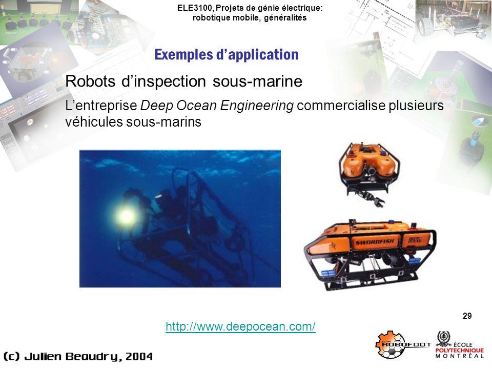 ELE3100, Projets de génie électrique: robotique mobile, généralités Exemples dapplication 29 Robots dinspection sous-marine Lentreprise Deep Ocean Engineering commercialise plusieurs véhicules sous-marins http://www.deepocean.com/