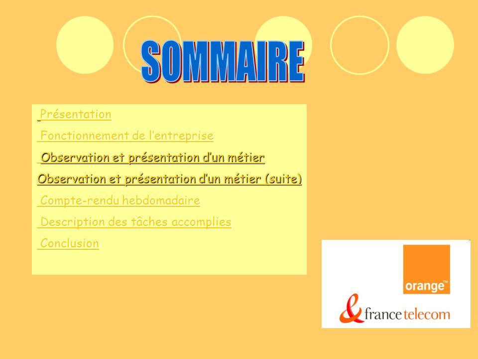 SOMMAIREPrésentation de lentreprise France Telecom est le leader du marché de la communication en France, présent sur 3 univers : fixe mobile et internet.