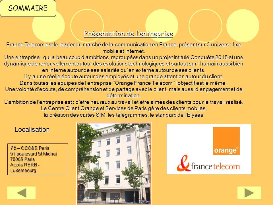 SOMMAIREPrésentation de lentreprise France Telecom est le leader du marché de la communication en France, présent sur 3 univers : fixe mobile et inter