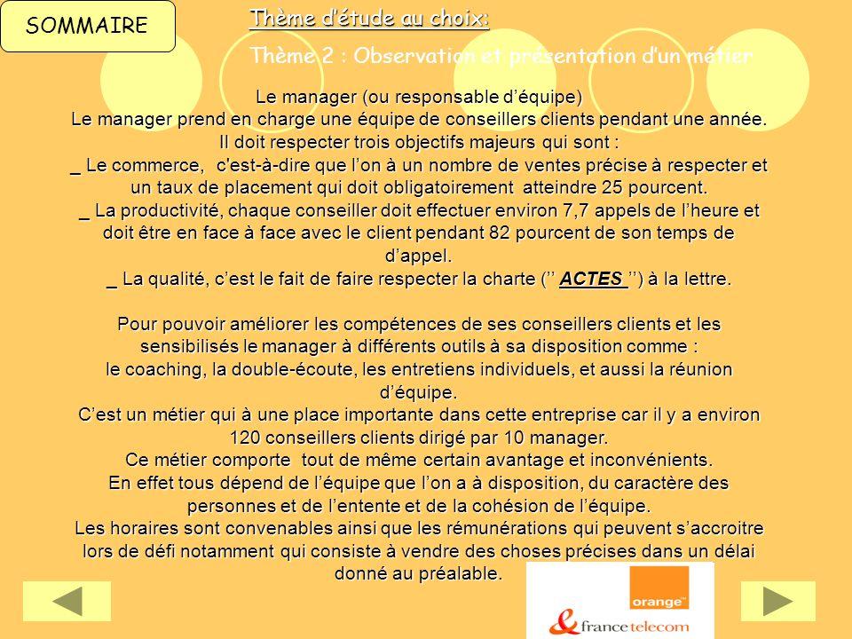 SOMMAIREThème détude au choix: Thème 2 : Observation et présentation dun métier Le manager (ou responsable déquipe) Le manager prend en charge une équ