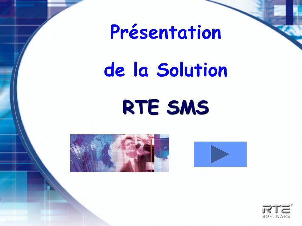 Offres produit RTE SMS RTE SMS SMS Concepts RTE SMS – Client dédié RTE SMS – Interface SMTP Intégration Exchange 2000 Intégration Notes Domino RTE SMS – Interface Fichier RTE SMS – Serveur
