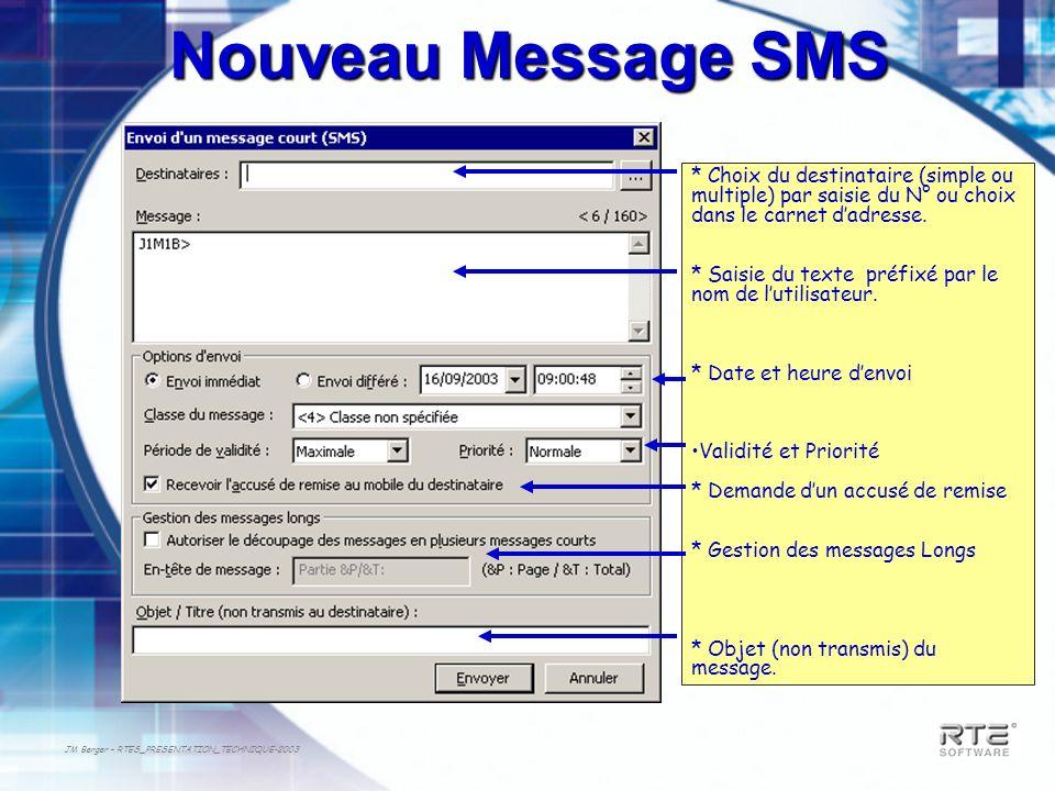 JM Berger – RTES_PRESENTATION_TECHNIQUE-2003 Nouveau Message SMS * Choix du destinataire (simple ou multiple) par saisie du N° ou choix dans le carnet