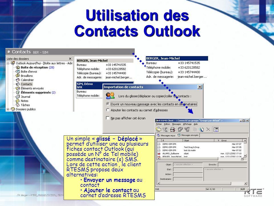 JM Berger – RTES_PRESENTATION_TECHNIQUE-2003 Utilisation des Contacts Outlook Un simple « glissé – Déplacé » permet dutiliser une ou plusieurs fiches