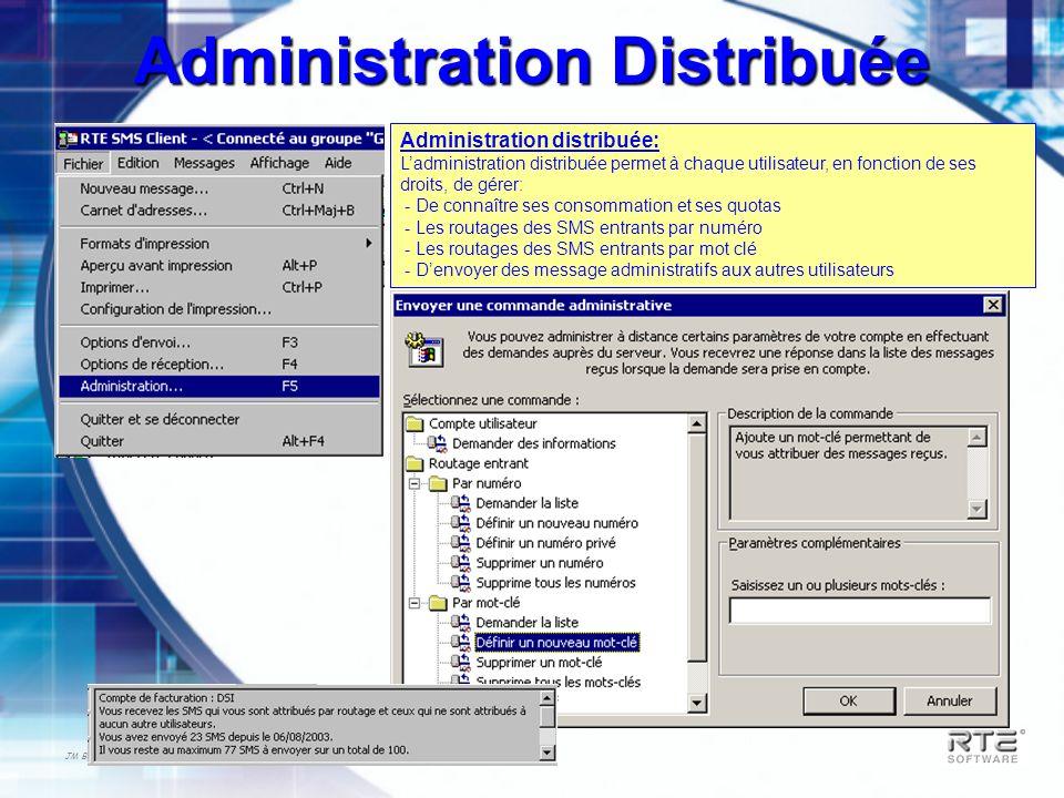 JM Berger – RTES_PRESENTATION_TECHNIQUE-2003 Administration Distribuée Administration distribuée: Ladministration distribuée permet à chaque utilisate