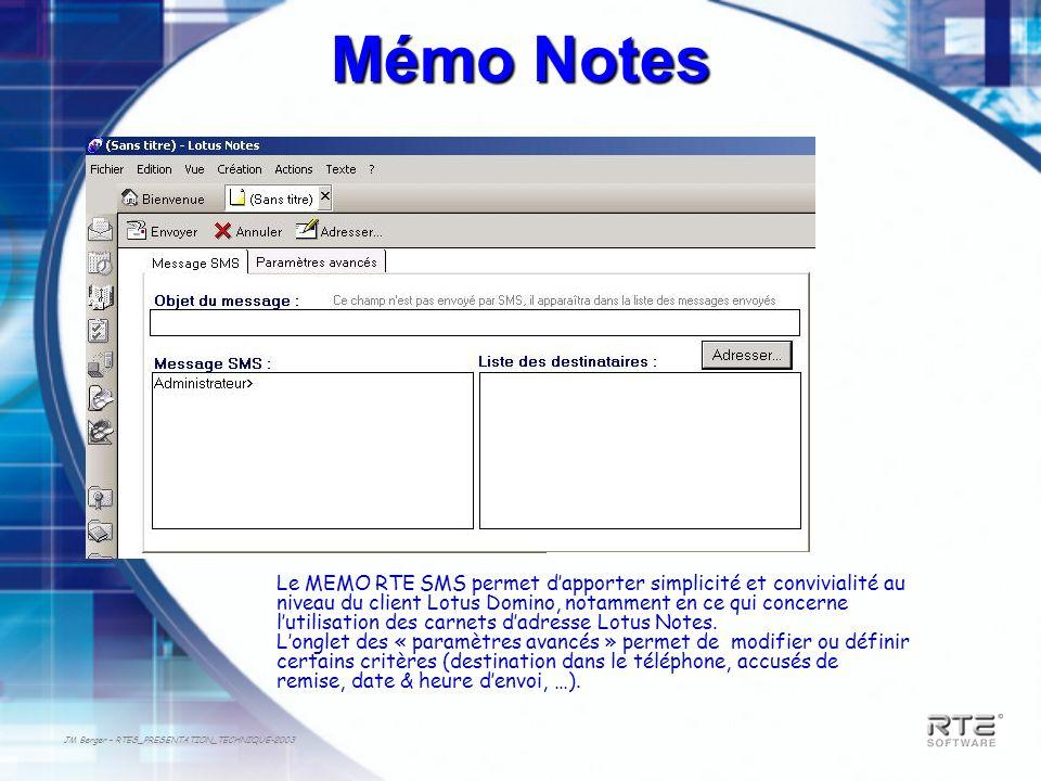 JM Berger – RTES_PRESENTATION_TECHNIQUE-2003 Mémo Notes Le MEMO RTE SMS permet dapporter simplicité et convivialité au niveau du client Lotus Domino,