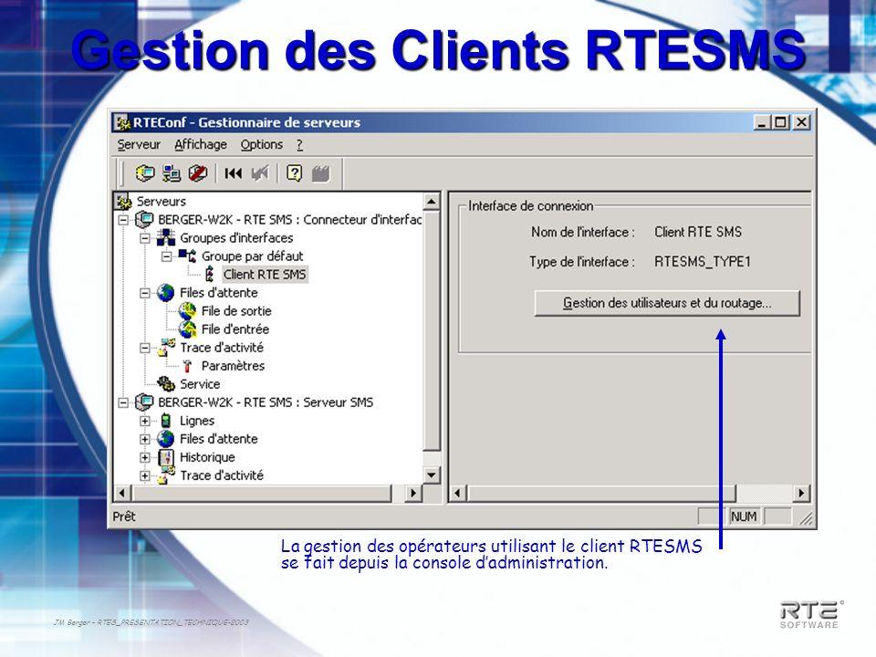 JM Berger – RTES_PRESENTATION_TECHNIQUE-2003 Gestion des Clients RTESMS La gestion des opérateurs utilisant le client RTESMS se fait depuis la console