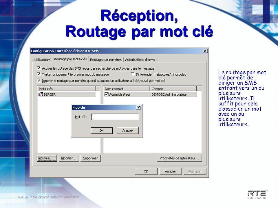 JM Berger – RTES_PRESENTATION_TECHNIQUE-2003 Réception, Routage par mot clé Le routage par mot clé permet de diriger un SMS entrant vers un ou plusieu