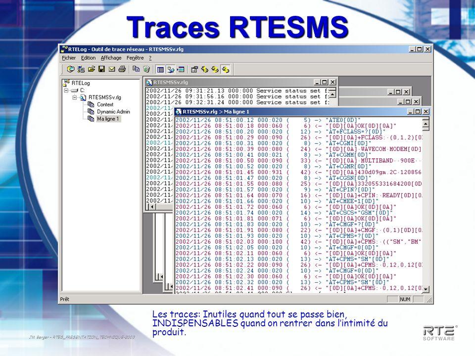 JM Berger – RTES_PRESENTATION_TECHNIQUE-2003 Traces RTESMS Les traces: Inutiles quand tout se passe bien, INDISPENSABLES quand on rentrer dans lintimi