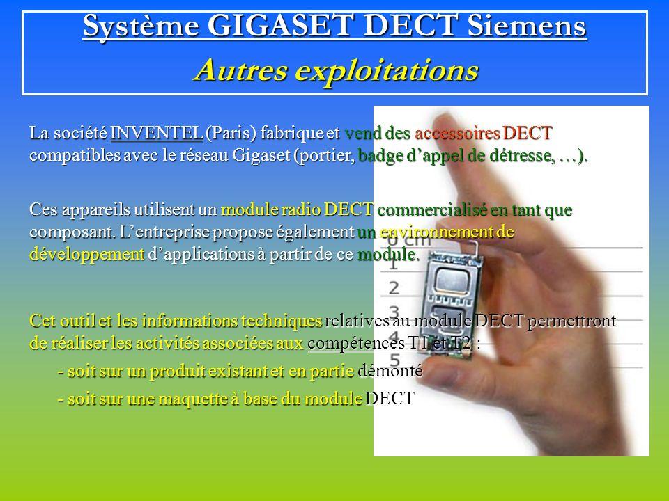 Système GIGASET DECT Siemens Autres exploitations La société INVENTEL (Paris) fabrique et vend des accessoires DECT compatibles avec le réseau Gigaset