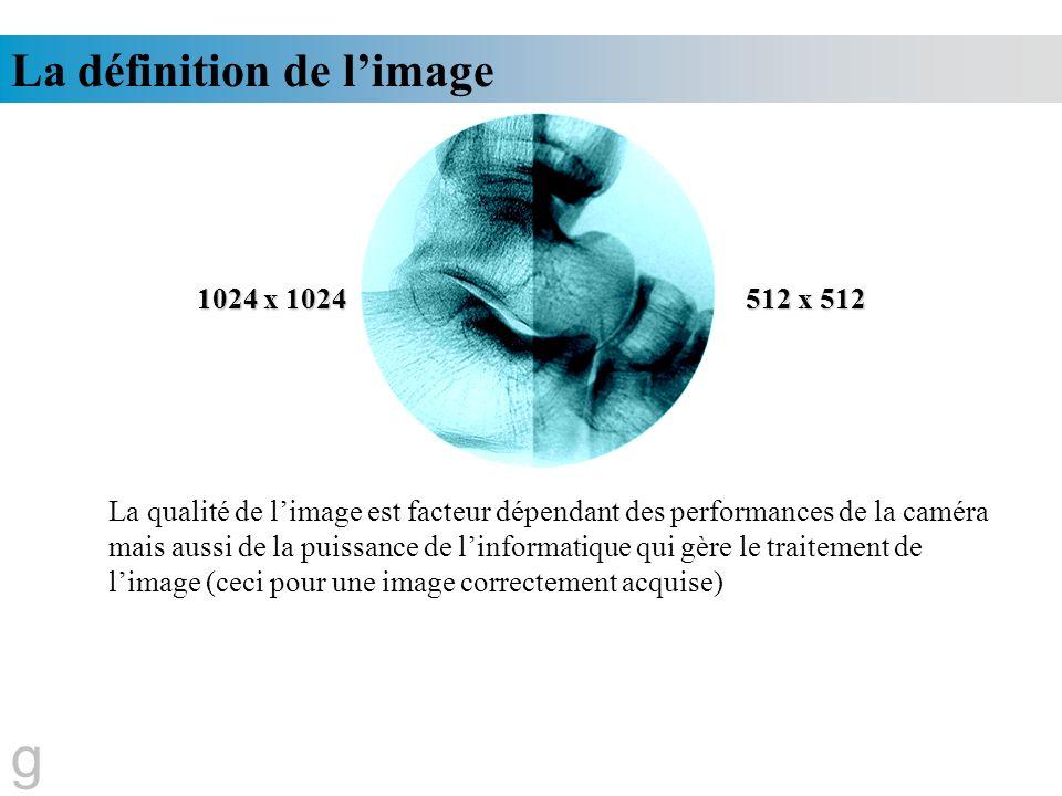 La définition de limage 1024 x 1024 512 x 512 La qualité de limage est facteur dépendant des performances de la caméra mais aussi de la puissance de l