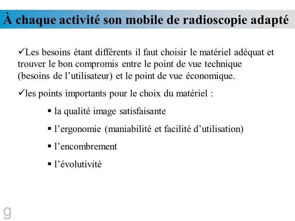 À chaque activité son mobile de radioscopie adapté Les besoins étant différents il faut choisir le matériel adéquat et trouver le bon compromis entre
