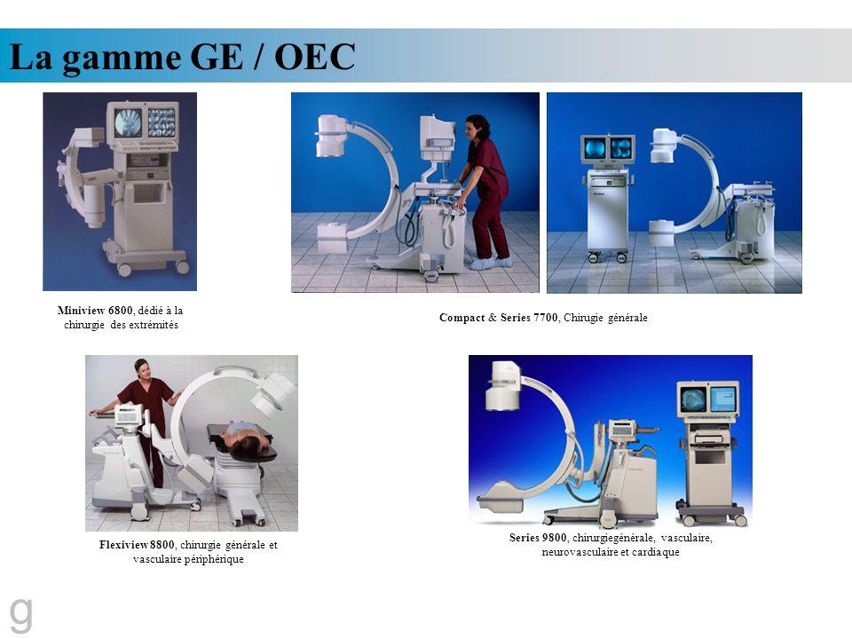 La gamme GE / OEC g Miniview 6800, dédié à la chirurgie des extrémités Compact & Series 7700, Chirugie générale Flexiview 8800, chirurgie générale et