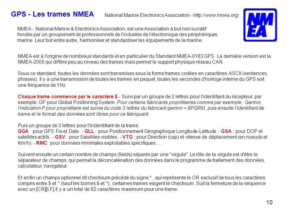 10 NMEA est à l origine de nombreux standards et en particulier du Standard NMEA-0183 GPS.