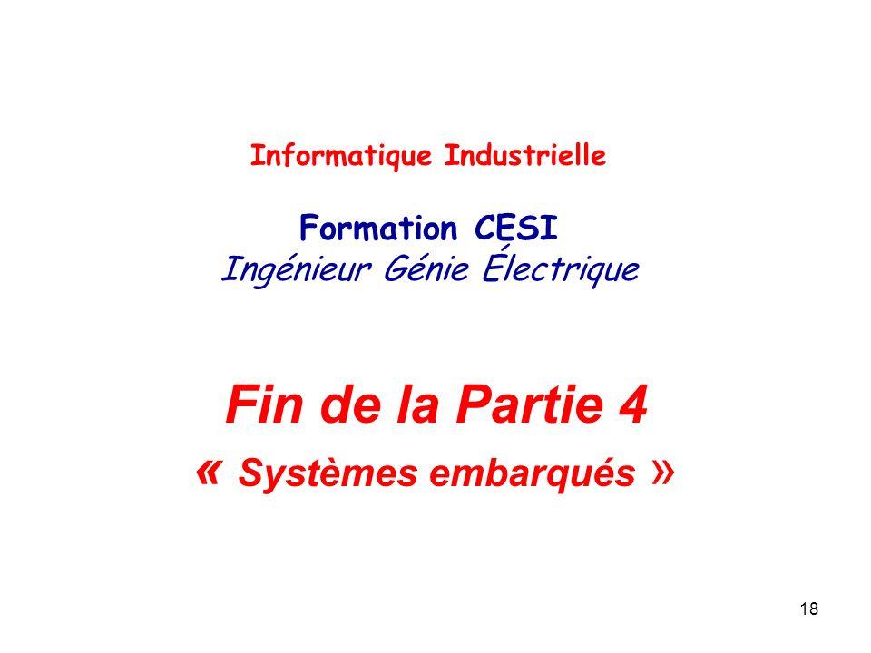 18 Fin de la Partie 4 « Systèmes embarqués » Informatique Industrielle Formation CESI Ingénieur Génie Électrique