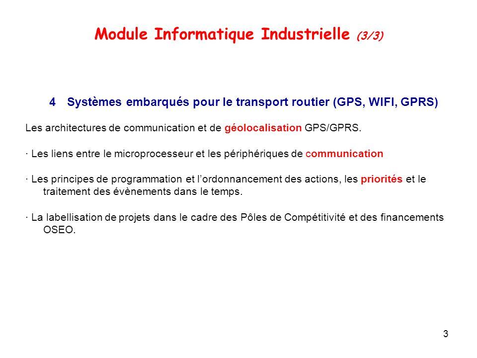 3 4Systèmes embarqués pour le transport routier (GPS, WIFI, GPRS) Les architectures de communication et de géolocalisation GPS/GPRS.