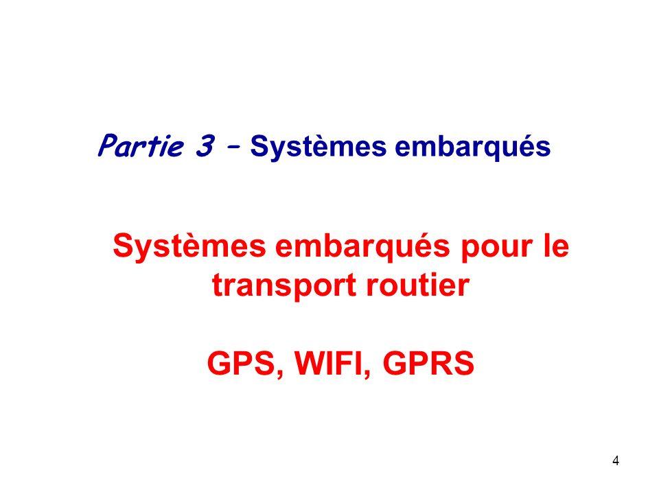4 Systèmes embarqués pour le transport routier GPS, WIFI, GPRS Partie 3 – Systèmes embarqués