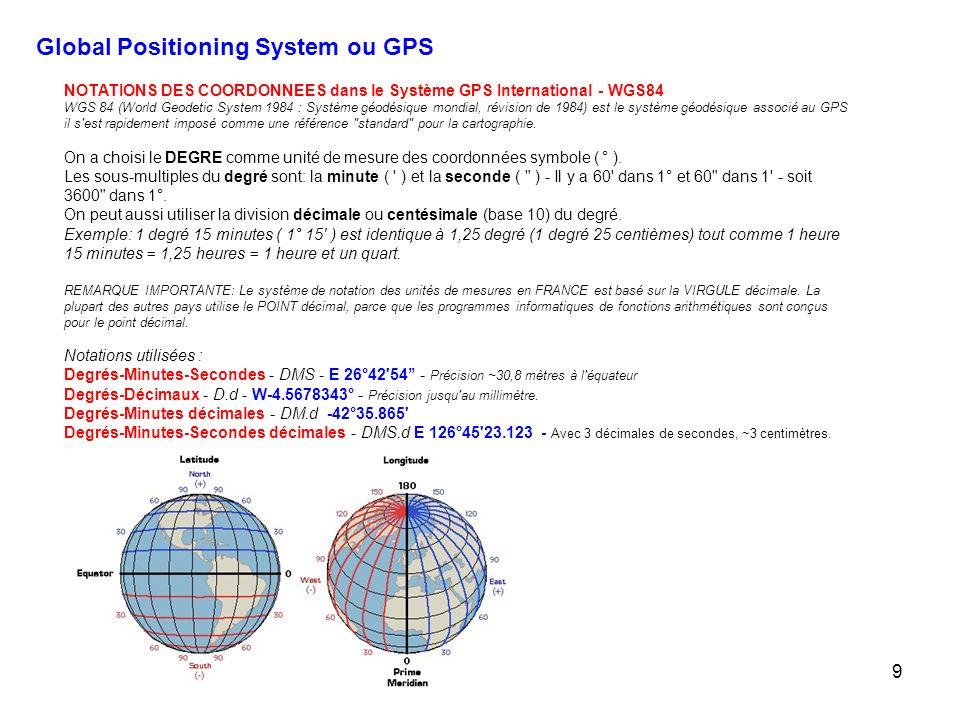 9 NOTATIONS DES COORDONNEES dans le Système GPS International - WGS84 WGS 84 (World Geodetic System 1984 : Système géodésique mondial, révision de 1984) est le système géodésique associé au GPS il s est rapidement imposé comme une référence standard pour la cartographie.
