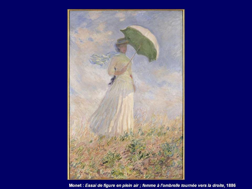 Monet : Essai de figure en plein air ; femme à l'ombrelle tournée vers la droite, 1886