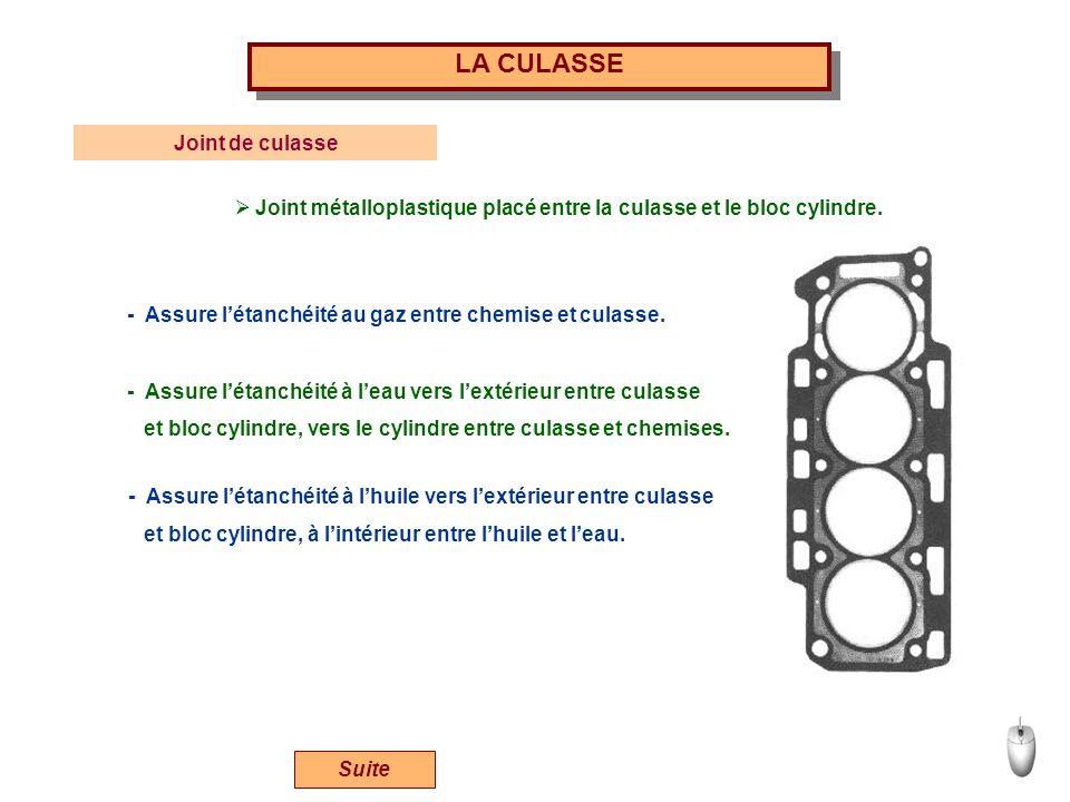 LA CULASSE Joint de culasse Joint métalloplastique placé entre la culasse et le bloc cylindre. - Assure létanchéité au gaz entre chemise et culasse. -