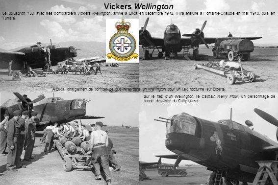 A Blida, chargement de bombes de 500 livres dans un Wellington pour un raid nocturne sur Bizerte.
