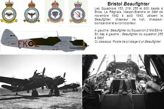 Bristol Beaufighter Les Squadrons 153, 219, 255 et 600, basés à Blida, La Réghaïa, Maison-Blanche et Sétif de novembre 1942 à août 1943, utilisent le Beaufighter, chasseur de nuit, chasseur- bombardier et avion torpilleur.