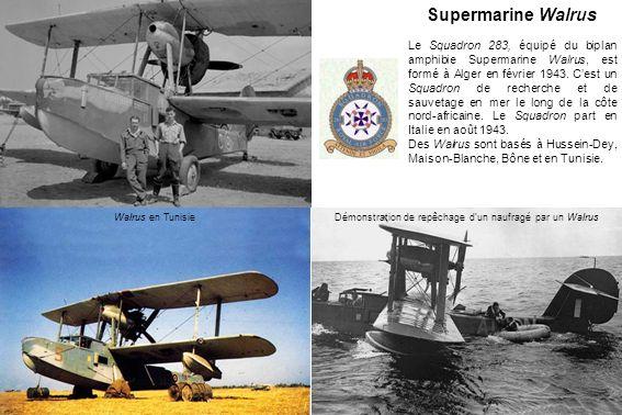 Supermarine Walrus Le Squadron 283, équipé du biplan amphibie Supermarine Walrus, est formé à Alger en février 1943.
