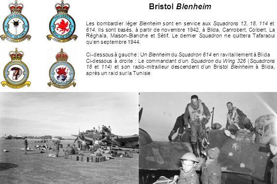 Bristol Blenheim Les bombardier léger Blenheim sont en service aux Squadrons 13, 18, 114 et 614.