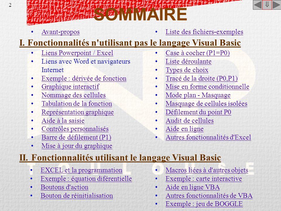 Fonctionnalités d'Excel pour un usage pédagogique Claude MONTEIL Support de formation pour le personnel de l'INP de Toulouse Avril 2001 - Janvier 2002