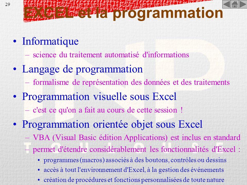 28 Autres fonctionnalités d'Excel protection des cellules (menu Format / Cellules) –permet le verrouillage (évite la modification par saisie) et/ou le