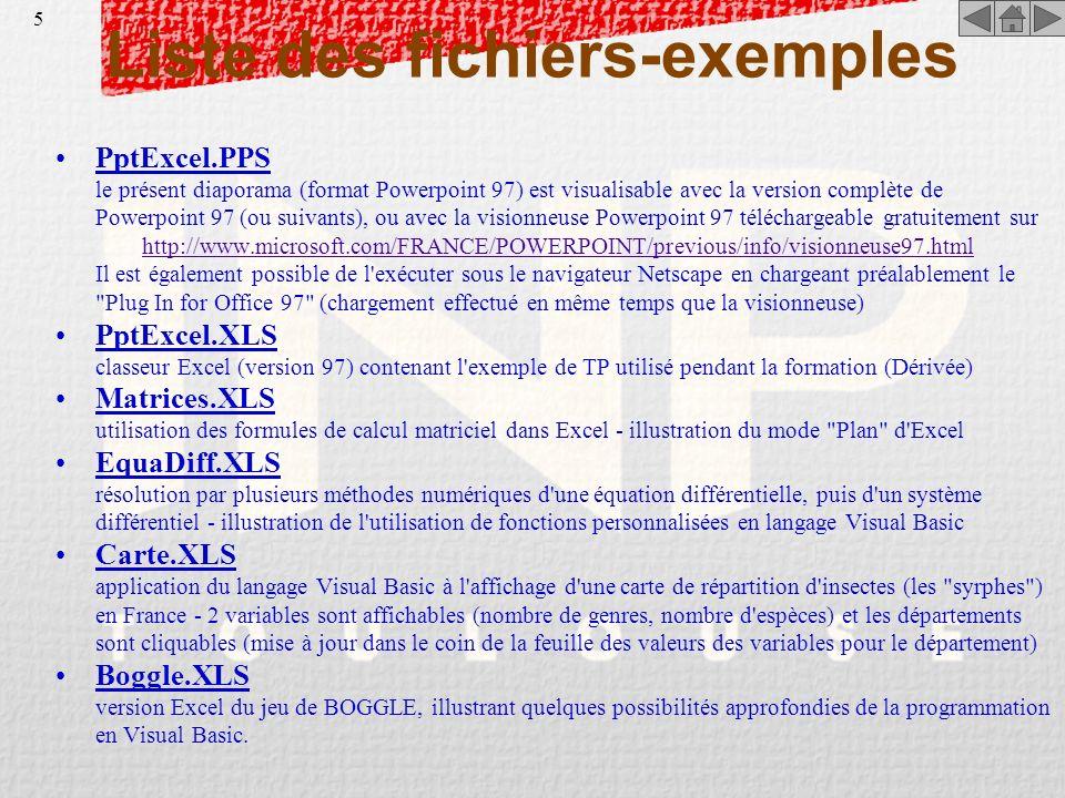 4 Avant-Propos (suite) La seconde partie concerne des fonctionnalités nécessitant une utilisation minimale du langage de programmation Visual Basic. E