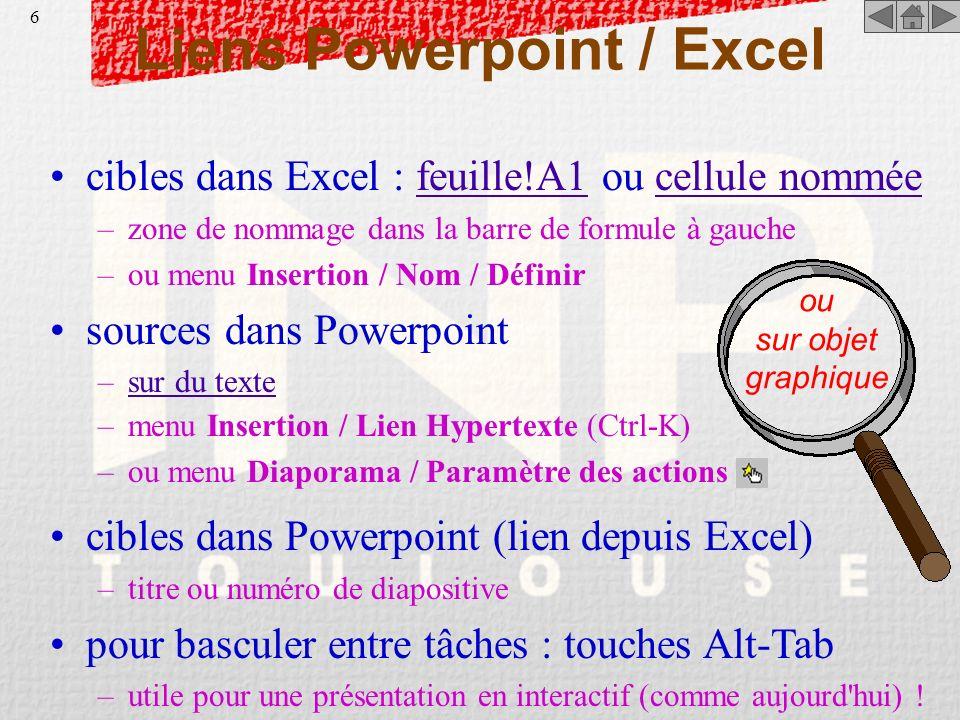 5 Liste des fichiers-exemples PptExcel.PPS le présent diaporama (format Powerpoint 97) est visualisable avec la version complète de Powerpoint 97 (ou