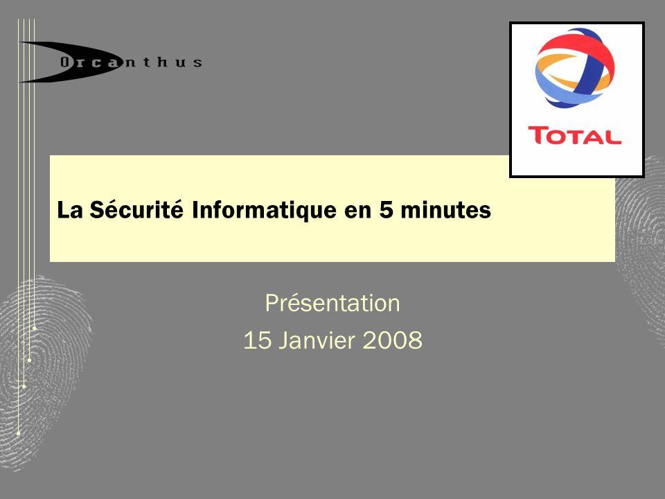 La Sécurité Informatique en 5 minutes Présentation 15 Janvier 2008