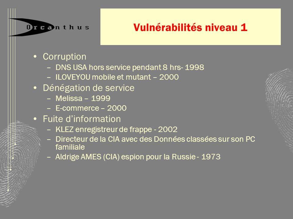 Vulnérabilités niveau 1 Corruption –DNS USA hors service pendant 8 hrs- 1998 –ILOVEYOU mobile et mutant – 2000 Dénégation de service –Melissa – 1999 –E-commerce – 2000 Fuite dinformation –KLEZ enregistreur de frappe - 2002 –Directeur de la CIA avec des Données classées sur son PC familiale –Aldrige AMES (CIA) espion pour la Russie - 1973