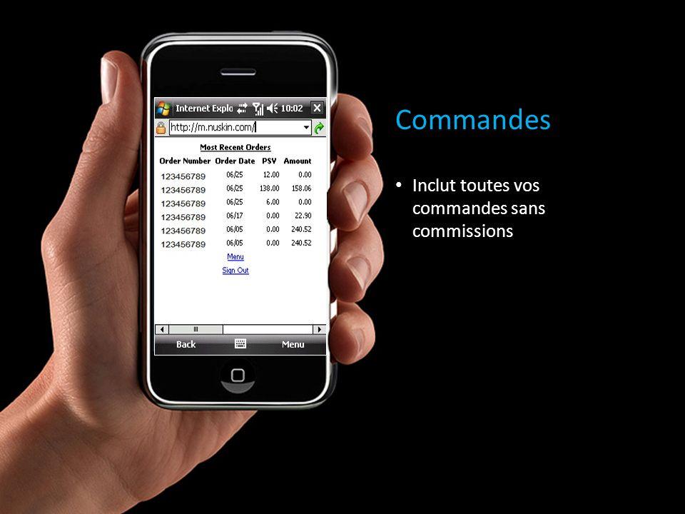 Commandes Inclut toutes vos commandes sans commissions