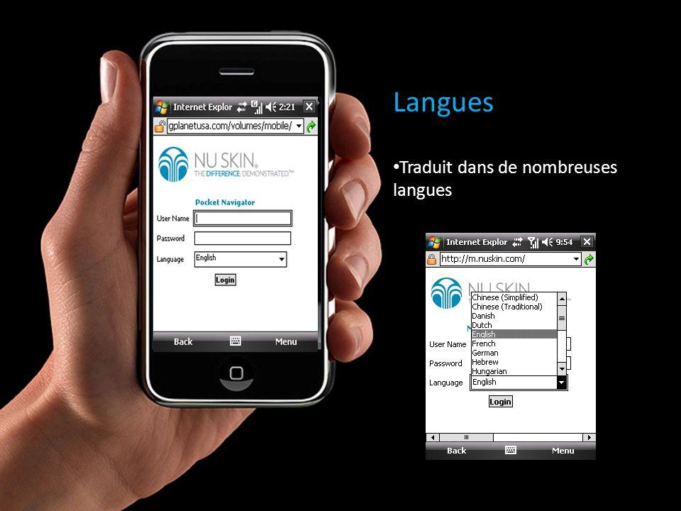 Langues Traduit dans de nombreuses langues