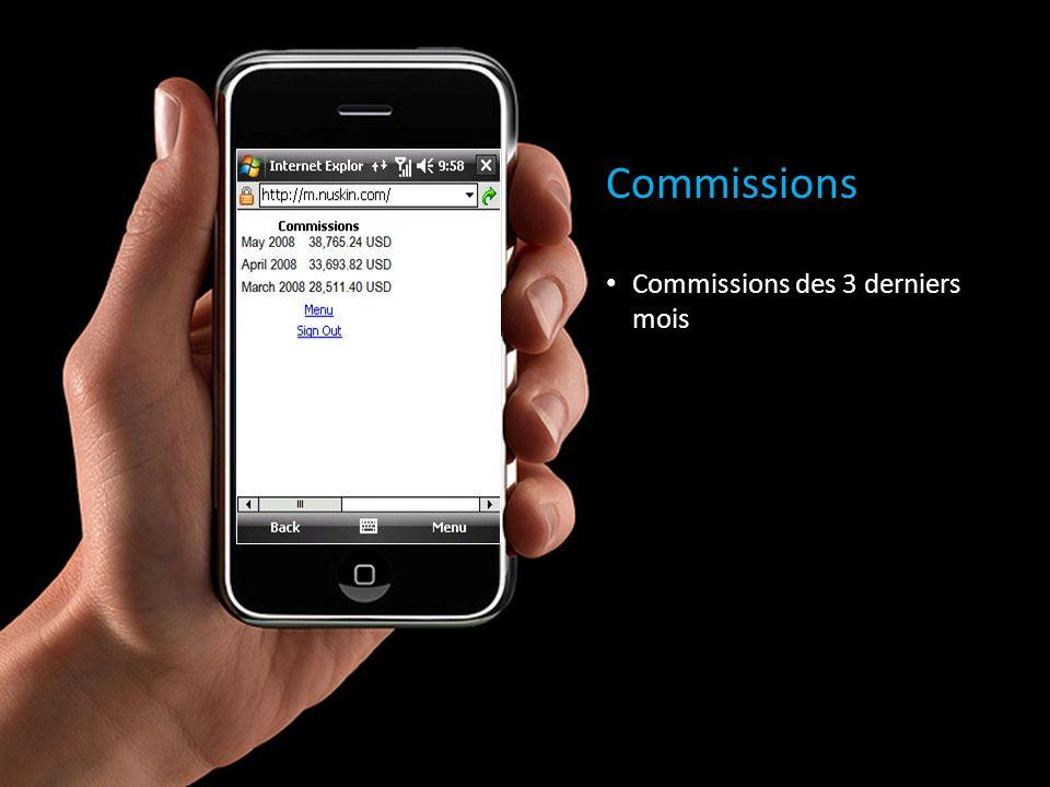 Commissions Commissions des 3 derniers mois