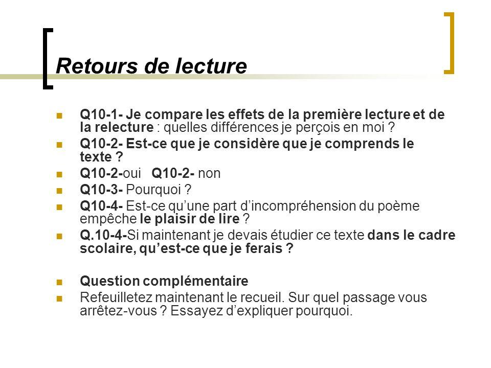 Retours de lecture Q10-1- Je compare les effets de la première lecture et de la relecture : quelles différences je perçois en moi .