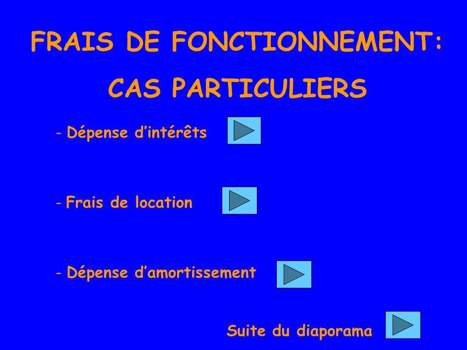 FRAIS DE FONCTIONNEMENT: CAS PARTICULIERS - Dépense dintérêts- Frais de location - Dépense damortissement Suite du diaporama