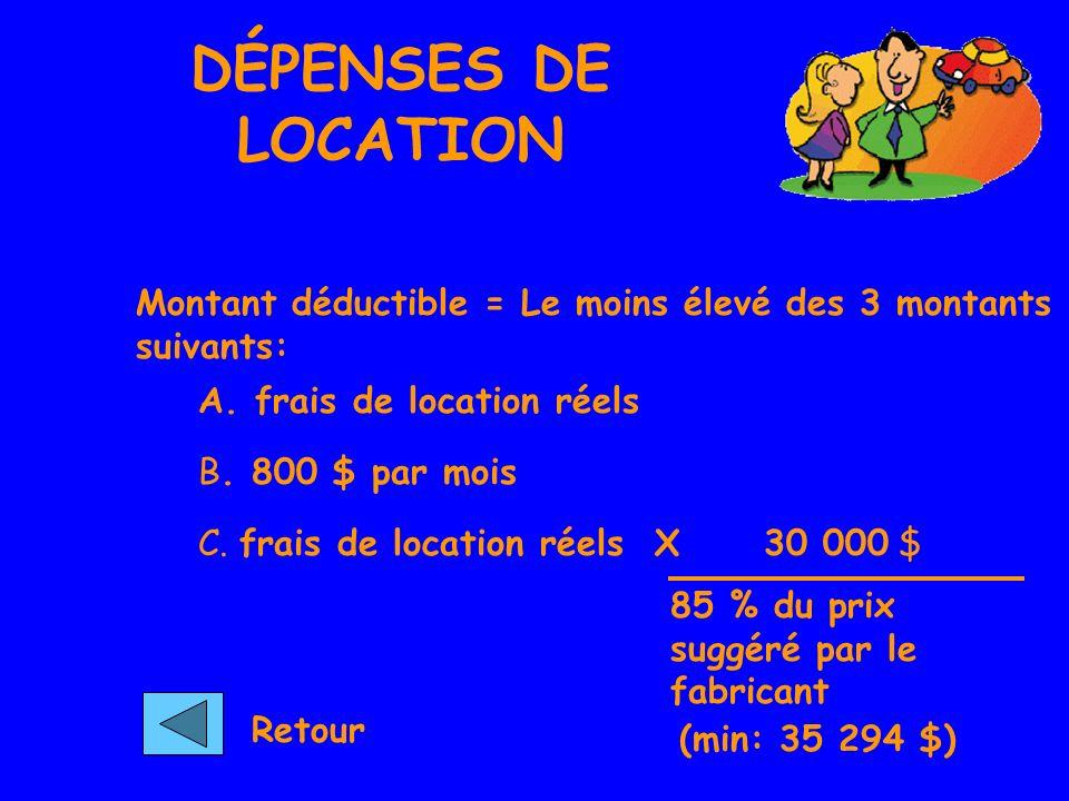 DÉPENSES DE LOCATION Montant déductible = Le moins élevé des 3 montants suivants: A.
