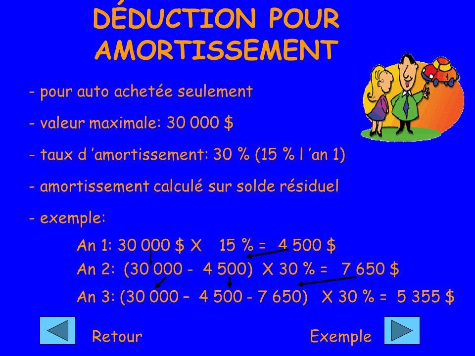 DÉDUCTION POUR AMORTISSEMENT - pour auto achetée seulement - valeur maximale: 30 000 $ - taux d amortissement: 30 % (15 % l an 1) - amortissement calculé sur solde résiduel - exemple: An 1: 30 000 $ X An 2: 15 % =4 500 $ (30 000 -4 500)X 30 % = An 3: 7 650 $ (30 000 –4 500- 7 650)X 30 % =5 355 $ RetourExemple