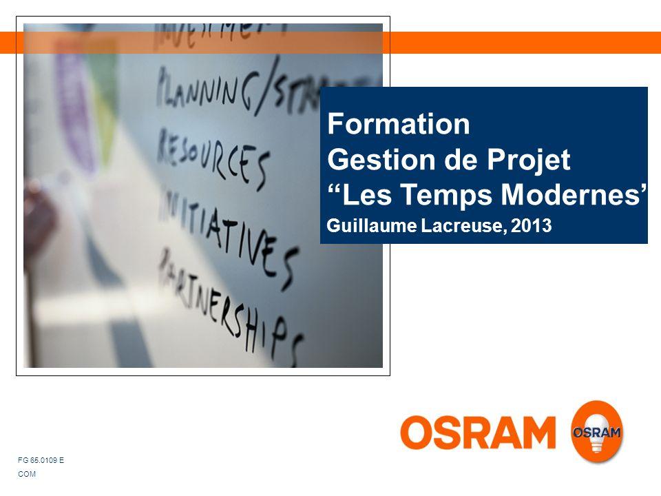 Guillaume Lacreuse, 2013 Formation Gestion de Projet Les Temps Modernes FG 65.0109 E COM
