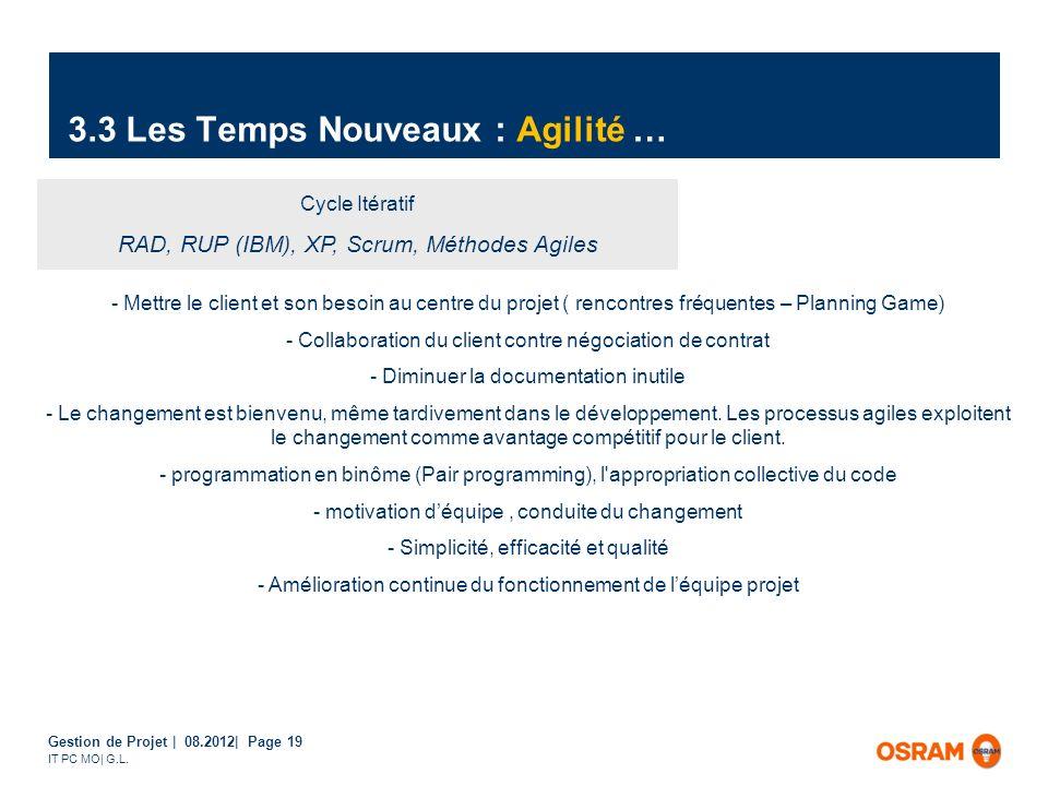 Gestion de Projet | 08.2012| Page 19 IT PC MO| G.L. 3.3 Les Temps Nouveaux : Agilité … Cycle Itératif RAD, RUP (IBM), XP, Scrum, Méthodes Agiles - Met