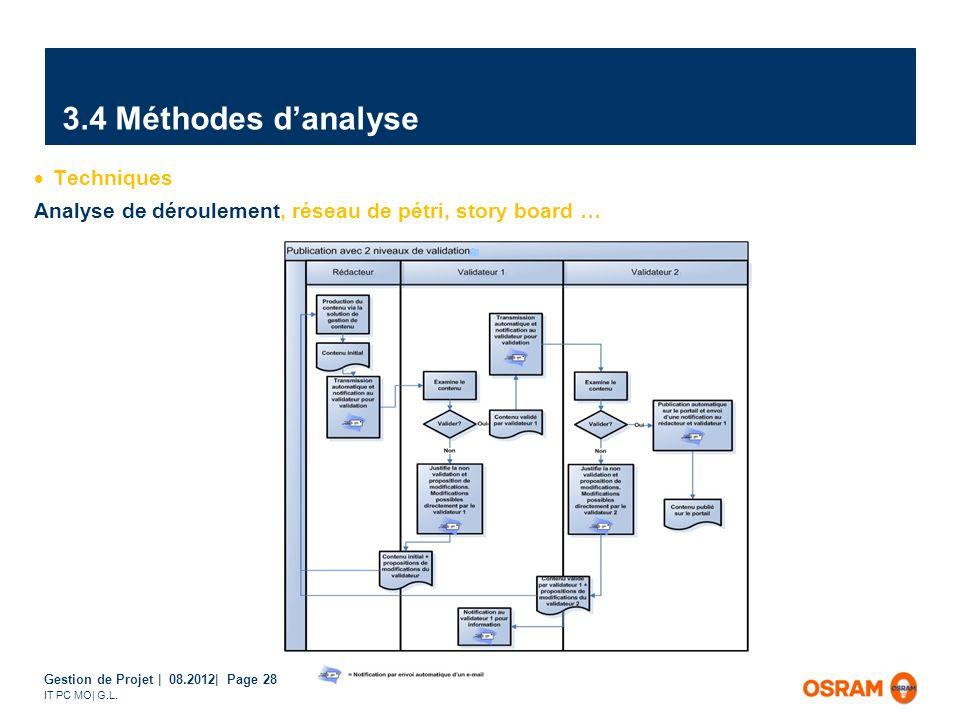 Gestion de Projet | 08.2012| Page 28 IT PC MO| G.L. Techniques Analyse de déroulement, réseau de pétri, story board … 3.4 Méthodes danalyse