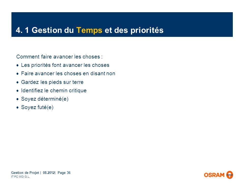 Gestion de Projet | 08.2012| Page 36 IT PC MO| G.L. Comment faire avancer les choses : Les priorités font avancer les choses Faire avancer les choses